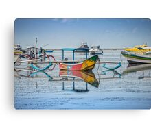 Mirrored Boats at Sanur Bali Canvas Print