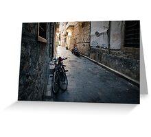 Bikes On Dark Street: Antalya, Turkey Greeting Card