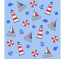Nautical Theme Sailor Pattern Photographic Print