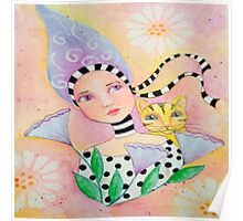 Whimsy Girl with Cat Poster