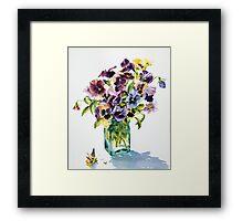 Pansies, backlit Framed Print