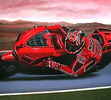 Casey Stoner on Ducati painting by PaulMeijering