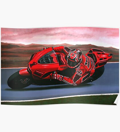 Casey Stoner on Ducati painting Poster