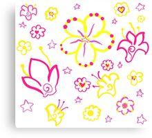 Retro Florals-Pink Lemonade Palette Canvas Print
