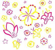 Retro Florals-Pink Lemonade Palette Photographic Print