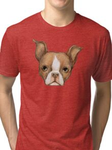 Brown Boston Terrier Tri-blend T-Shirt