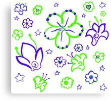 Retro Florals-Limeade Palette Canvas Print