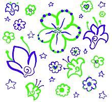 Retro Florals-Limeade Palette Photographic Print