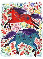 A Horse of Red and Blue by Yetzenia Leiva