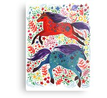 A Horse of Red and Blue Metal Print