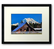 Mount Rainier and Barn Framed Print
