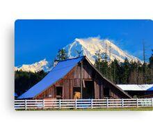 Mount Rainier and Barn Canvas Print