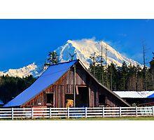 Mount Rainier and Barn Photographic Print