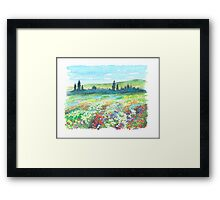 ITALIAN DOLOMITES - WATERCOLOR DRAWING Framed Print
