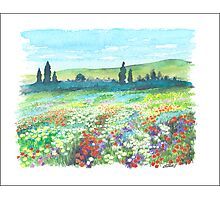 ITALIAN DOLOMITES - WATERCOLOR DRAWING Photographic Print