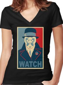 Who is Watching? Women's Fitted V-Neck T-Shirt