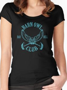 Barn Owl Barbell Club Turquoise Women's Fitted Scoop T-Shirt