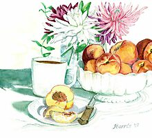 Still Life - Peaches by clotheslineart
