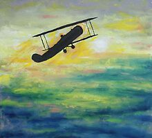 Oil Painting. Biplane. 2010 by Igor Pozdnyakov