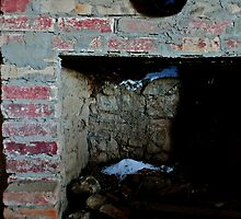 Santa's escape - abandoned fire place with snow by ashley hutchinson