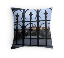 Prague Castle at Twilight from behind bars Throw Pillow