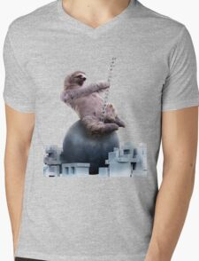 Wrecking Ball Sloth Mens V-Neck T-Shirt