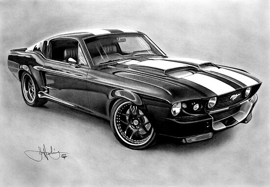 Mustang GT-500 drawing by John Harding