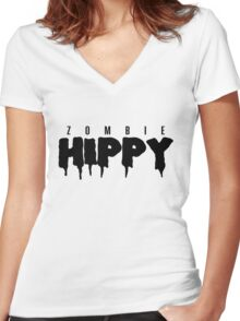 ZombieHIPPY • Logo Typeface #2 Women's Fitted V-Neck T-Shirt