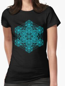 Infinity Cube Light Blue Womens Fitted T-Shirt