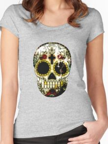 Day of the Dead Sugar Skull Grunge Design Women's Fitted Scoop T-Shirt