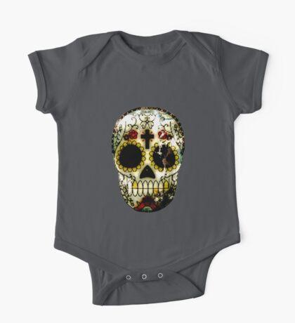 Day of the Dead Sugar Skull Grunge Design One Piece - Short Sleeve