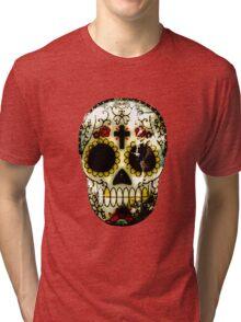 Day of the Dead Sugar Skull Grunge Design Tri-blend T-Shirt