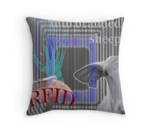 RFID - Turning humans into branded sheep Throw Pillow