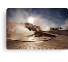 Sunrise Over Iconic Yellowstone Boardwalk Canvas Print