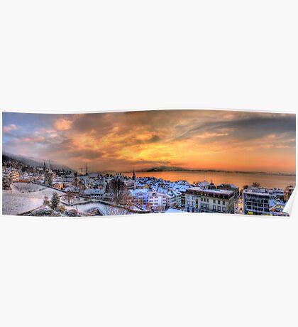Swiss Winter Sunset Poster