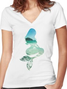 Mermaid ocean beach boho cool trendy pretty design Women's Fitted V-Neck T-Shirt