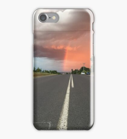 rainbow cuts through the clouds and sky iPhone Case/Skin