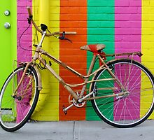 Bicycle Against Colorful Wall by Cynthia48