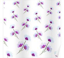 Violet blue watercolor flowers Poster