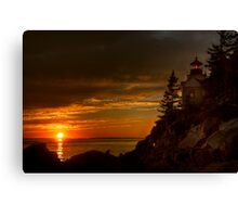 Bass Harbor Head Light House at Sunset Canvas Print