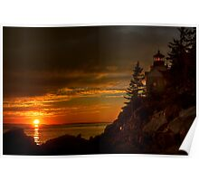 Bass Harbor Head Light House at Sunset Poster