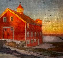 Red Barn At Dusk by Michael  Petrizzo