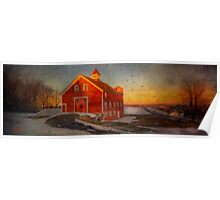 Red Barn At Dusk Poster