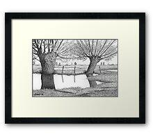 HOLLAND WATERLAND - PEN DRAWING Framed Print