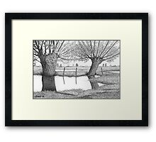 HOLLAND WATERLAND - PEN DRAWING Framed Print