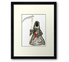 Grim Reaper with Coffee Framed Print