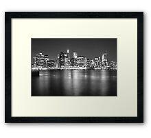 Lower Manhattan in Black and White Framed Print