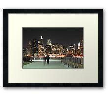 Lower Manhattan at Night Framed Print