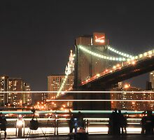 Brooklyn Bridge and Lower Manhattan at Night by Shutter and Smile Photography