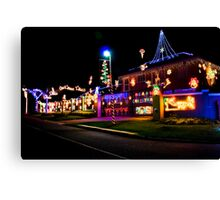 Home Decorated with Xmas Lights Canvas Print